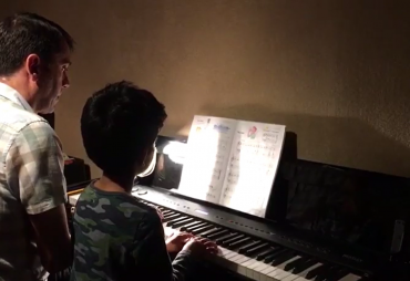 "Aarush is playing with his teacher ""Broadway Star"", duet"